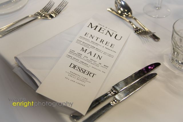 At the Tailrace Centre we love putting together simple menu for your guests.  This is a sample of the type of text and format that we can do.  Remember the menu will be discarded within minutes of you being seated and within hours the majority of them will be stained with the merriment created by weddings.  Our tip is keep it simple. http://www.tailracecentre.com.au/contact/