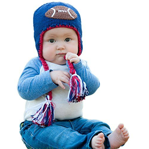 Huggalugs Baby and Toddler Childrens All American Football Beanie Hat:   Your little Tom Brady will love this fun hat in navy with a football applique. Red trim accents the edges and the ties are finished with red, white and blue tassels. Be a Patriot!