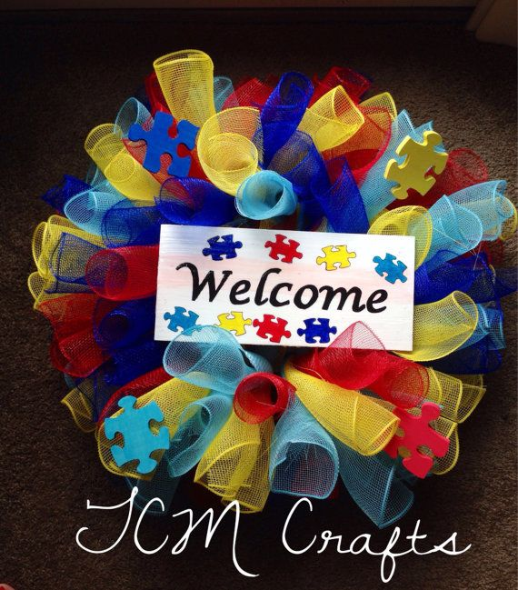Autism Awareness Wreath by TCMCrafts on Etsy