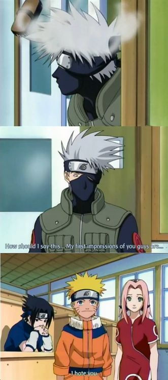 "Kakashi hates them. Sasuke is just sitting alone, thinking about his all to complicated life. And his hotness, and emo voice, and fangirls, and especially Itachi. But nobody would  Know unless you went to go watch ""naruto abridged"", it's hilarious. Only eight episodes. First one  is called ""Pilot No jutsu!"""