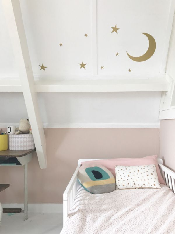 Maan en sterren #muurstickers #wallsticker | Bibelotte
