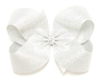 Arco del pelo de plata metálico, plata brillo arcos del pelo para niñas, 4 pulgadas plata Boutique Bow, Hairbow Classic para mujeres, niñas, bebé