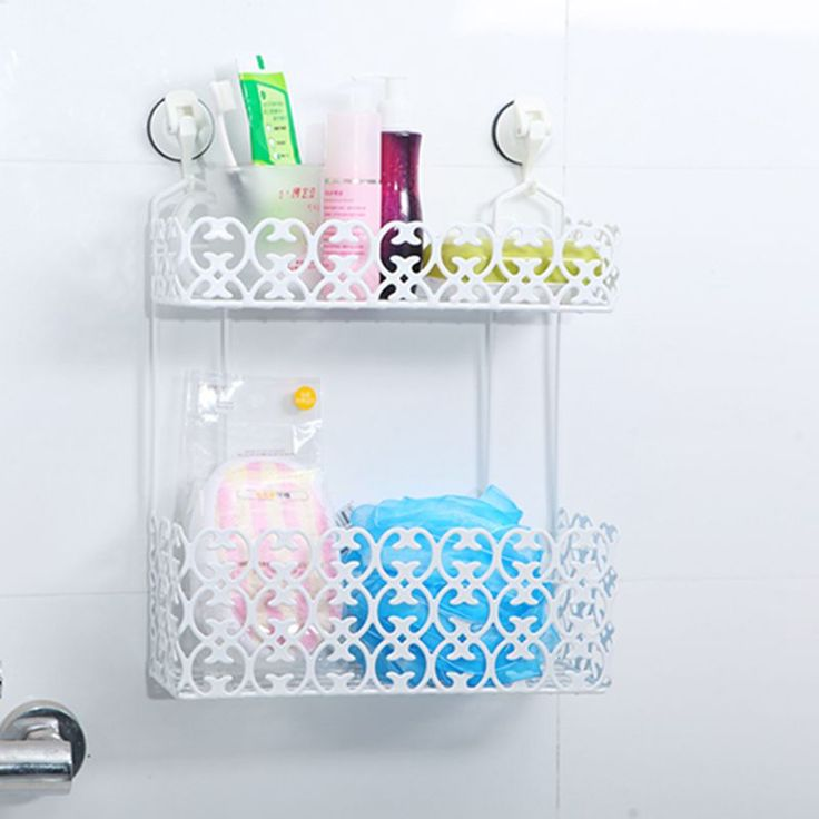 Stylish Carved Bathroom Double Shelf Kitchen Flavored Storage Rack with two small magic hooks
