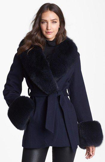 Caruana Genuine Fox Fur Trim Loro Piana Wool Coat