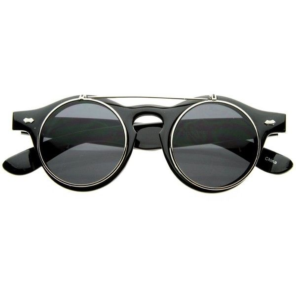 Small Retro Steampunk Circle Flip Up Glasses Sunglasses (£7.41) ❤ liked on Polyvore featuring accessories, eyewear, sunglasses, retro style sunglasses, circle sunglasses, retro glasses, flip up glasses and gold glasses