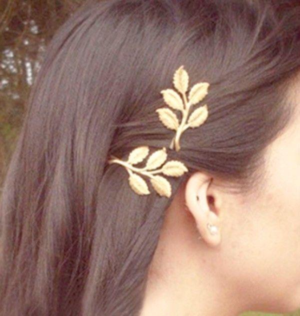 Sweet lovely leaves GOLDEN Metal Punk hairpin
