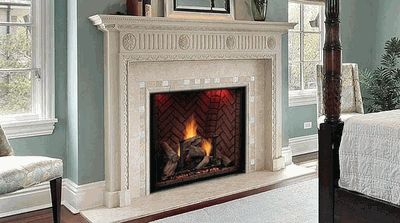 "ignore surrournd and rest of room... firebox is of interest for main floor... size is 48"" with 36"" opening and choose the masonry pattern for the interior... gas... direct vent Majestic Covington See-Thru Direct Vent Fireplace with Signature Command Control - 48 Inch"