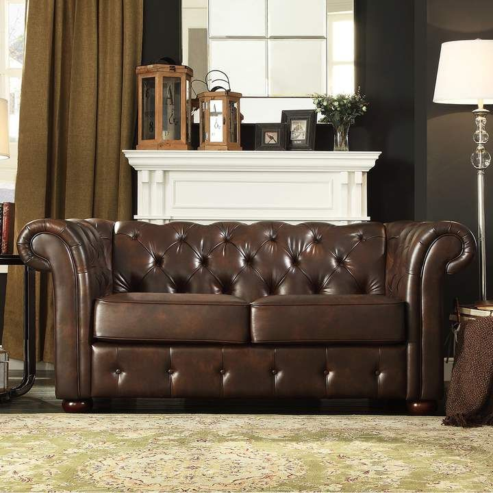 Coaster Furniture Roy Brown Bonded Leather Sofa Tufted Leather