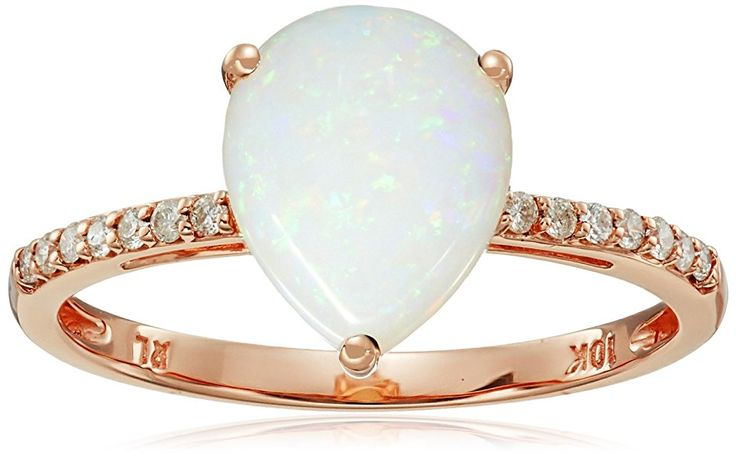 10k Rose Gold Pear Shaped Opal with Diamond Accent Ring (1/10cttw, I-J Color, I2-I3 Clarity), Size 7