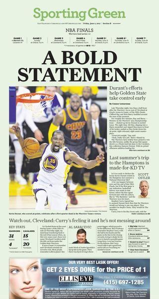 Warriors 2017 NBA finals Game 1 newspaper 6/2/2017