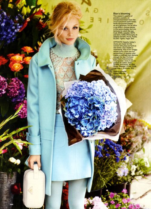 {Blue is Blooming}, #vintage, #blue, #fashion #magazine