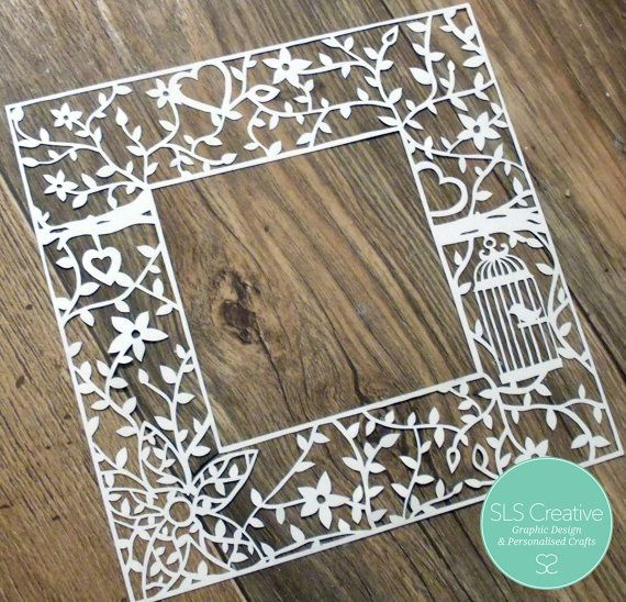 Flowers & Hearts - Floral Bird Cage Paper Cut Template - Mount / Frame - DIGITAL DOWNLOAD
