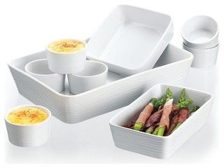 9 Piece Embossed White Bakeware Set - traditional - serveware - by Classic Hostess