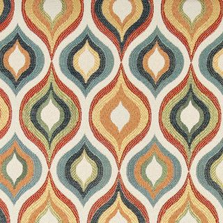 Red, Green, Blue, Orange And Gold, Bright Contemporary Upholstery Fabric By  The
