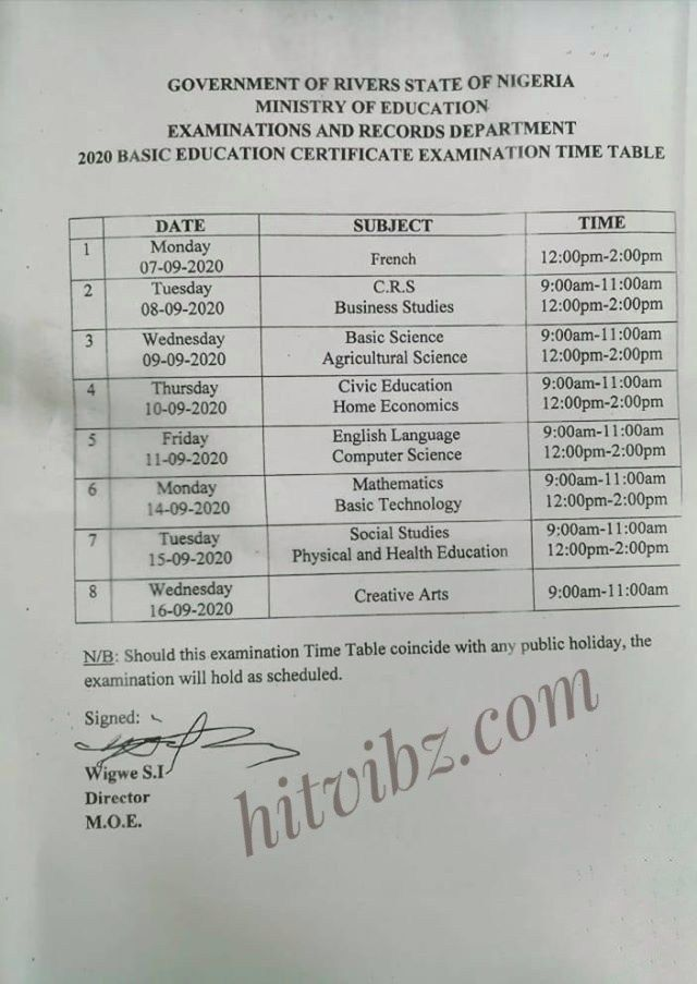 2020 Junior Waec Timetable Hitvibz Education Certificate Senior Secondary School Ministry Of Education