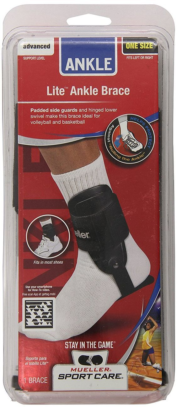 Mueller Sports Lite Active Hinged Ankle Brace Volleyball Basketball White Black * For more information, visit image link.