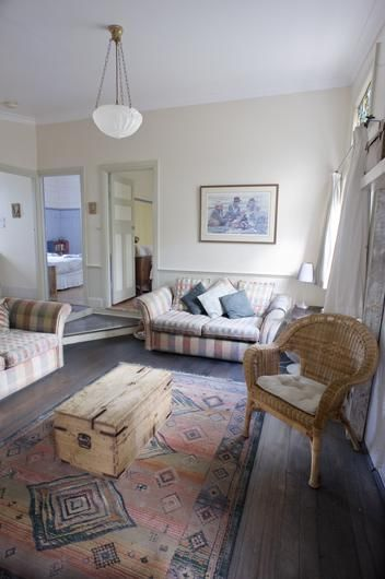 Green, Quirky, Luxury – The Worker's Cottage Living Area at Leura Dairy Blue Mountains | Green City Trips - Ready to go? Check availability and rates http://www.booking.com/hotel/au/old-leura-dairy.html?aid=802126;lang=en or read our review http://greencitytrips.com/eco-friendly-luxury-retreat-old-leura-dairy-blue-mountains/