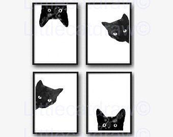 Zwarte kat Print Set van 4 aquarel Prints kat kunst illustratie kat minnaar cadeau zwart-witte minimalistische Decor van het huis kunst wordt afgedrukt kunst aan de muur