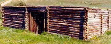 Métis log house frame, likely beginning of the 20th century.
