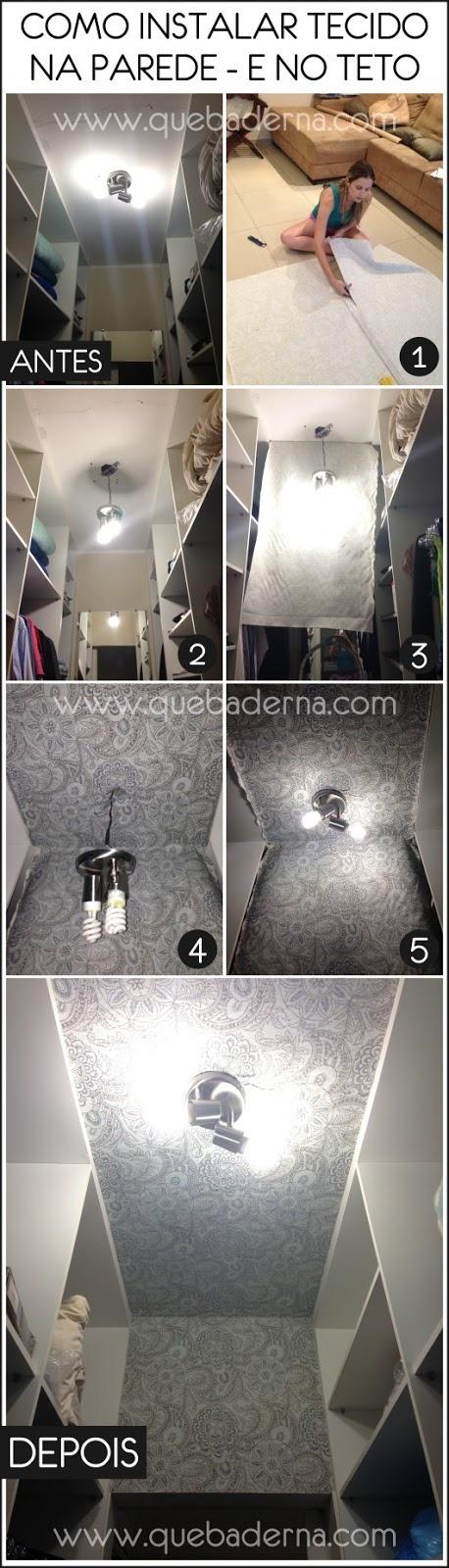 instalação de tecido no teto e na parede
