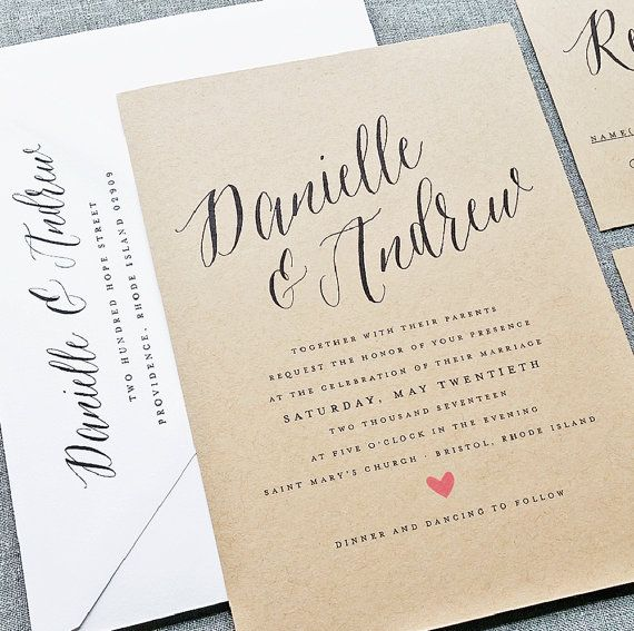 Danielle Calligraphy Script Recycled Kraft Wedding Invitation Sample with Pink Heart  {Description} Centered around a gorgeous hand-written