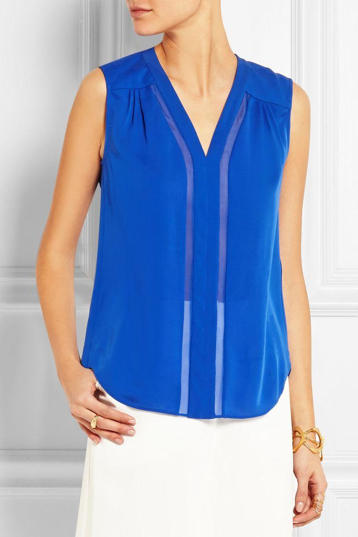 Diane von Furstenberg|Goldie chiffon-paneled silk-georgette top|NET-A-PORTER.COM