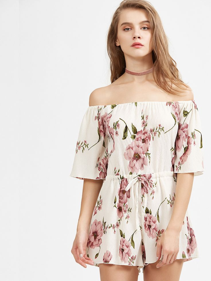 Red and White Off The Shoulder Floral Jumpsuit — 24.62 € --------color: Multi size: L,M,S,XL