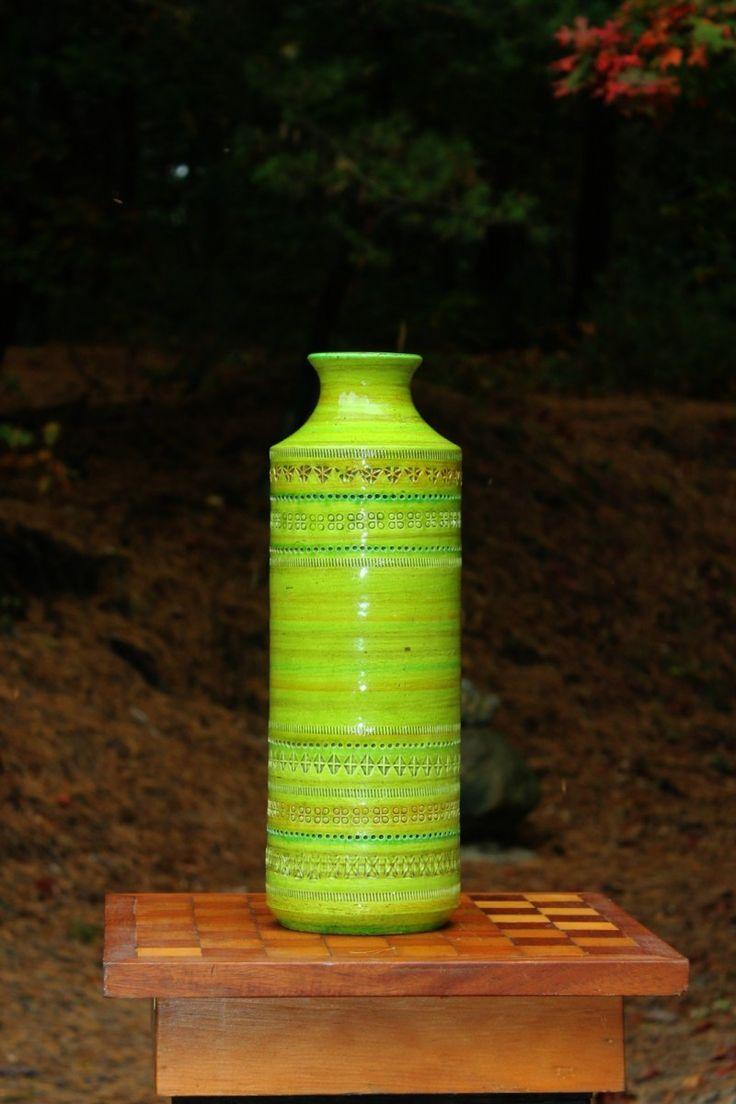 Tall green floor vase from renowned Italian Art Pottery designer Aldo Londi of Bitossi Ceramics. Original paper label from Rosenthal Netter distributor.