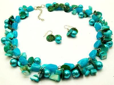 Multi Blue Shell Lucite Bead and Glass Faux Pearl Necklace Earring | eBay