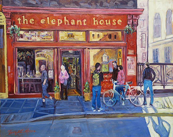 John Hamilton - The Elephant house, Edinburgh, 50x40cm Oil