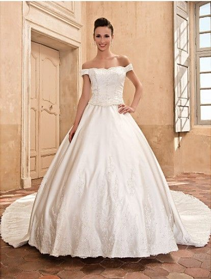 Beautiful Ball Gown Scalloped-Edge Capped Cathedral Train Satin #Wedding Dress WBG08665-LT
