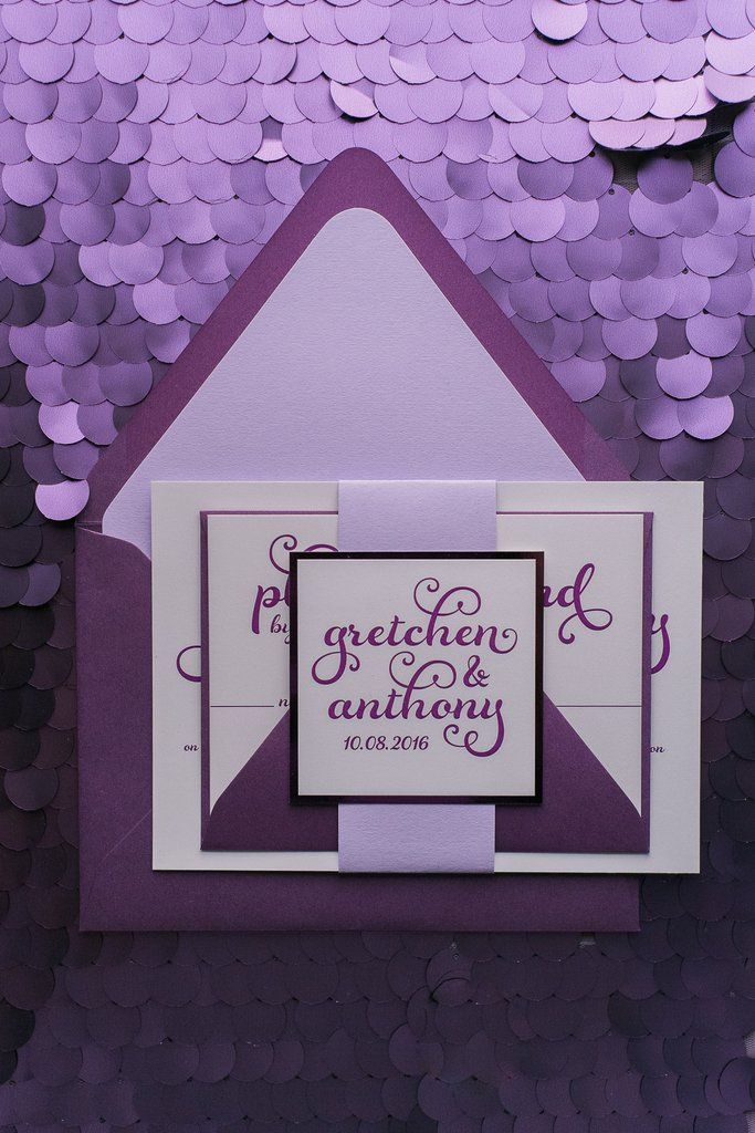 GRETCHEN Suite Romantic Package, calligraphy wedding invitation with heart, purple, lavender, whimsical wedding invitation