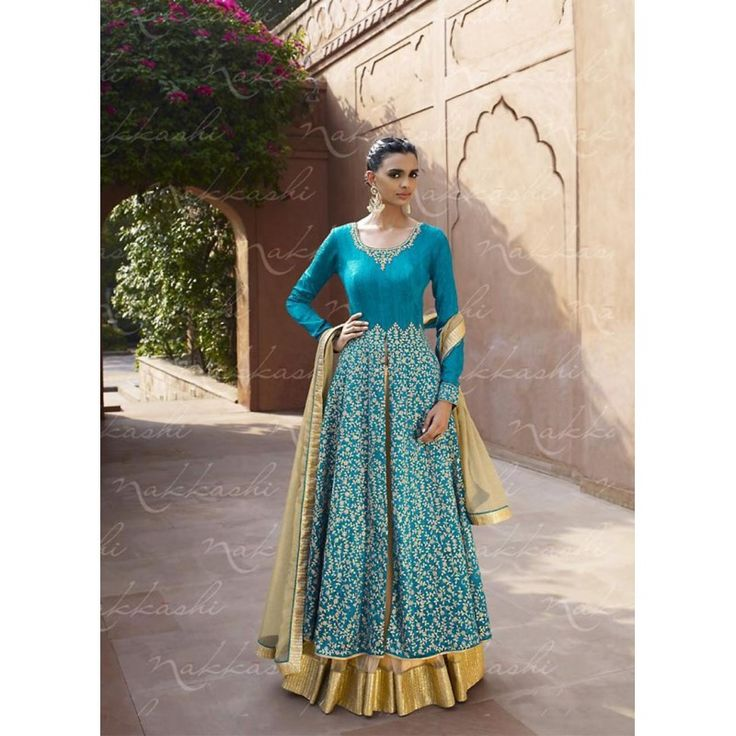 Bhagalpuri Silk Blue Anarkali Suit Dress Material - 67914