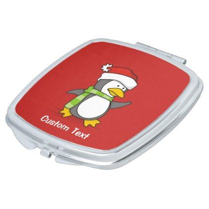 Christmas penguin walking on snow vanity mirror - winter gifts style special unique gift ideas