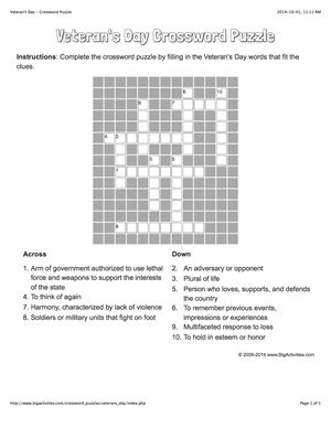 Veteran's Day crossword puzzle that changes each time you visit.
