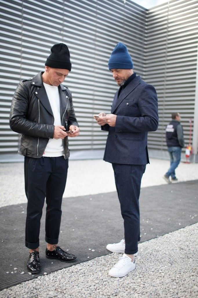 On the street in Florence during Pitti Uomo. #beanies, #cropped trousers