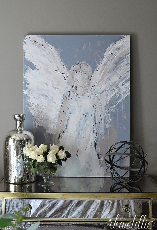 I love this painting! Looks like an oil painting. Angel in grays and white