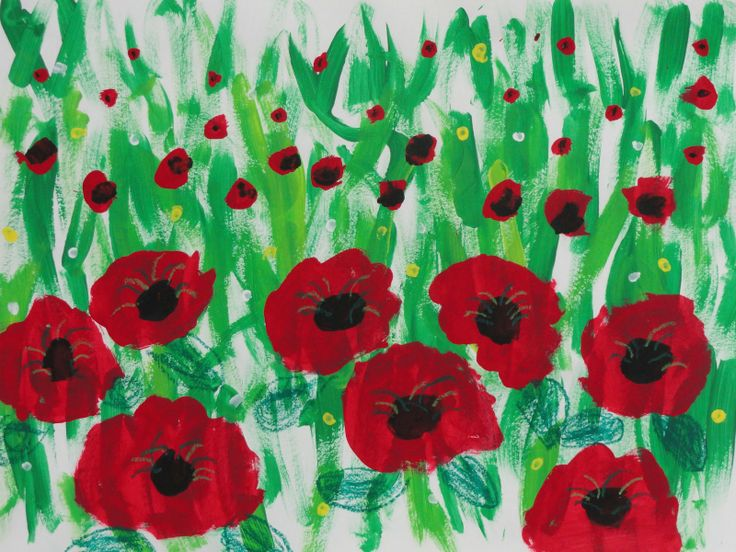 Add some cut paper crosses between the children's paintings and a copy of In Flander's Fields (either the poem alone or the book) to make an effective Remembrance Day bulletin board
