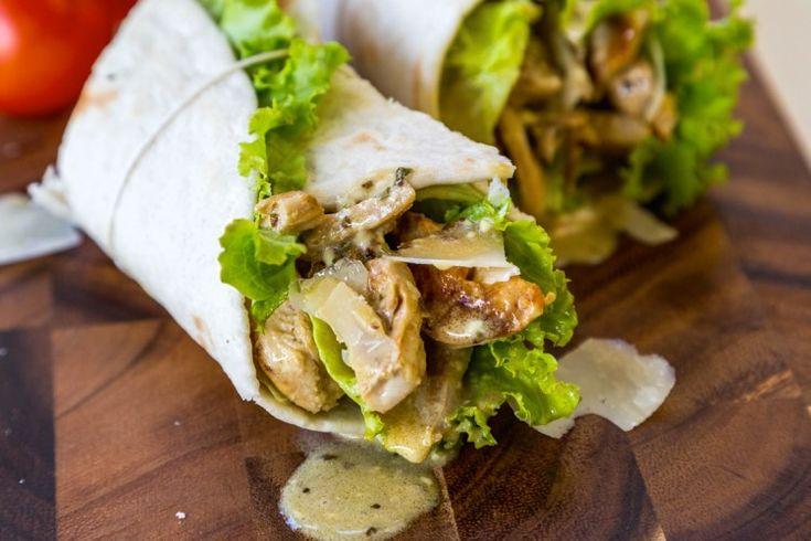 Chicken Caesar Wrap- how to make your own Greek yogurt ceaser sauce