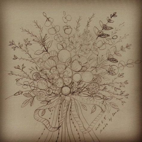 """119 Likes, 3 Comments - made by sara (@saramoon1211) on Instagram: """"#embroiderydesign #sketch #프랑스자수배우기 #도안샘플작업"""""""