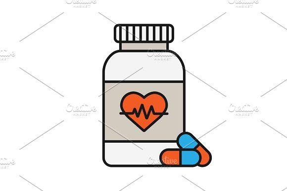 Pills Bottle With Heart Color Icon Pill Bottles Pills Bottle