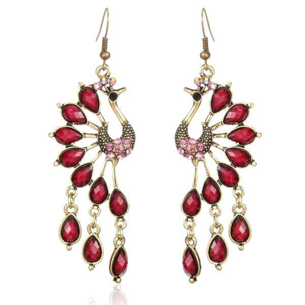 Vintage Peacock Crystal Rhinestone Tassel Earrings Jewelry