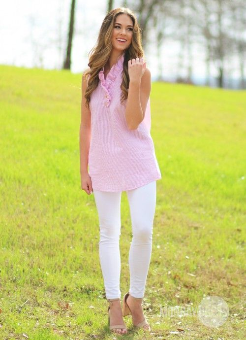 One Fine Day Pink Seersucker Tunic | Monday Dress Boutique