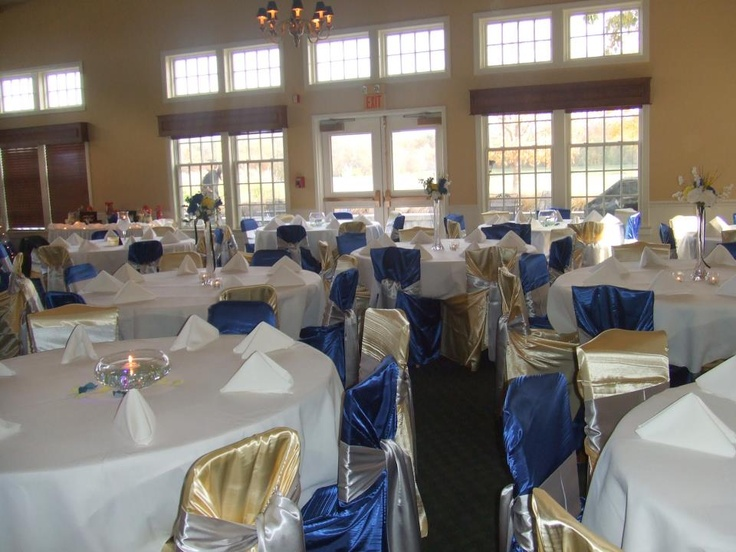 Blue, yellow, and silver wedding, Fall wedding, Satin chair covers and sashes. Loved planning this wedding, it was fun and casual with an appetizer buffet. Now working onsite at the Holiday Inn Indy Carmel Hotel email me to plan your next event! cdoll@alliancehospitality.com