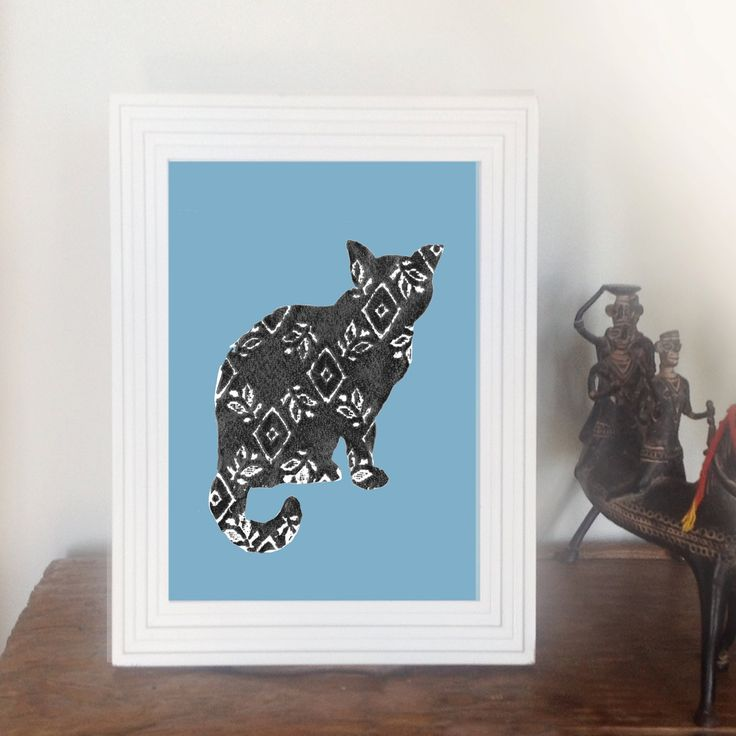 Cat Lace Print Pale Blue by animalsandbirds on Etsy