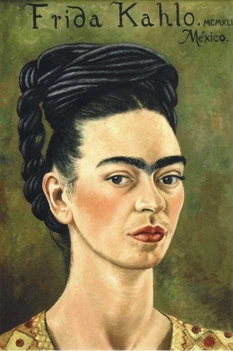fridaencoyoacan:    Autorretrato con vestido rojo y dorado (1941)