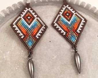 The Rosette Seed Beaded Earrings by Calisi on Etsy