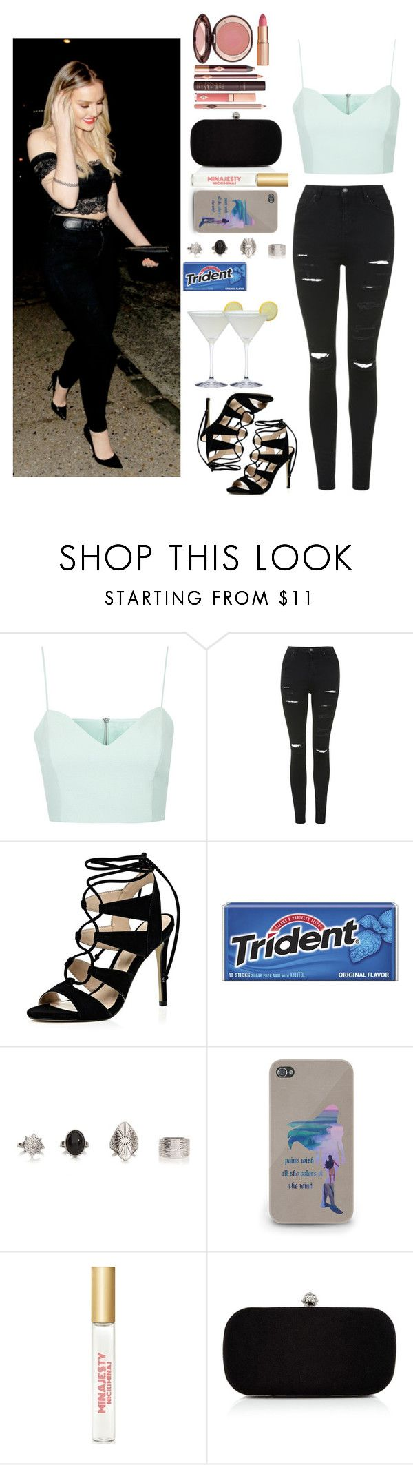 """""""Night in london with Perrie"""" by xhoneymoonavenuex ❤ liked on Polyvore featuring Topshop, River Island, Nicki Minaj, Precis Petite and Charlotte Tilbury"""
