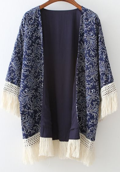 Shop Navy Floral Tassel Loose Kimono online. SheIn offers Navy Floral Tassel Loose Kimono & more to fit your fashionable needs.