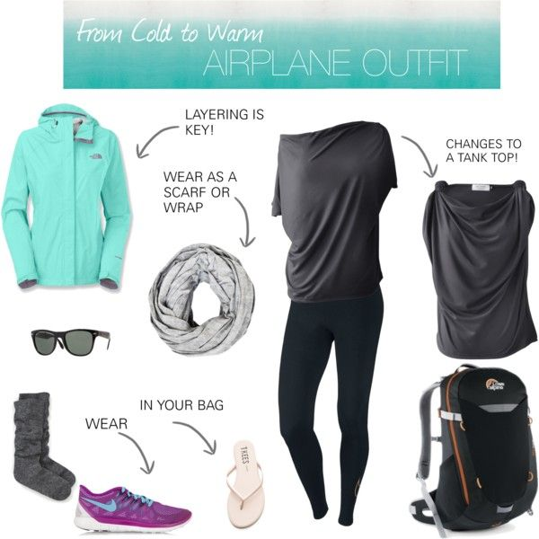 From Cold to Warm Airplane Outfit by encircled on Polyvore featuring The North Face, NIKE, Kate Spade, Tkees, Ray-Ban and Lowe Alpine
